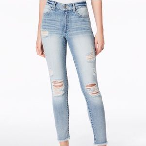 Ripped High-Waist Skinny Jeans light washed blue